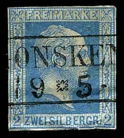 Lot 18968:1857 Wilhelm IV - Imperf, No Wmk Mi #7a 2s cobalt, Cat €100, 4 close margins, crease & tiny closed tear at base.
