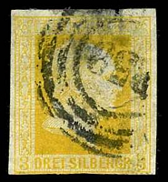 Lot 3756:1857 Wilhelm IV - Imperf, No Wmk Mi #8a 3s yellow-orange, Cat €50, 3 good margins, 1 close, thin & associated small tear at top