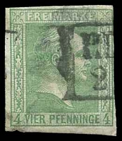 Lot 18969:1858-60 Wilhelm IV - Imperf, No Wmk Mi #9a 4pf green, Cat €36, 3 margins, extensive thin