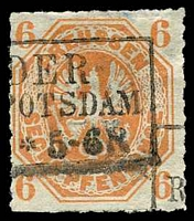 Lot 3980:1861-65 Prussian Eagle Mi #15a 6pf orange, Cat €16.