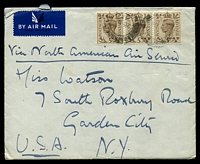 Lot 4085:1943 use of 5d brown KGVI strip of 3, cancelled with poor Northwood of 20DEC43, airmail to Garden City, New York, letter included, large closed tear to backflap.