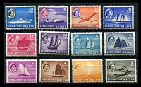 Lot 4613:1955-59 QEII Pictorials SG #38-49 short set to 50c (12), Cat £24, 20c ultramarine has a lightly creased TRC.