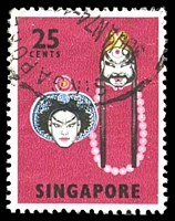 Lot 4310:1968-73 Cultural Artifacts SG #108a 25c Lu Chih Shen & Lin Chung, Cat £12.