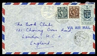 Lot 4586:1957 use of 25c arms, 15c brown & 4c grey QEII, cancelled with double-circle 'G.P.O. CASTRIES/11.-AM/22AU/57/ST. LU[CIA]