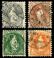 Lot 4472:1882-1904 SG #136,145-48 40c grey P11¾ & 20c orange, 25c green 30c brown, P11½x11, Cat £20+, (4), some toning to 30c value.