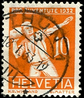 Lot 4708 [3 of 4]:1932 Pro Juventute SG #J60-3 set of 4, Cat £17, 10+5c orange has slight stain.