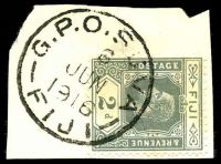 Lot 3556:Suva: 'G.P.O. SUVA/6/JUN/1916/FIJI', Proud #D7, on 2d grey KGV.  PO c.-/12/1871.