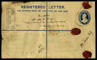 Lot 18355 [1 of 2]:Minhla: double-circle 'MINHLA/21FEB34/THARRAWADDY', Proud #KD7 on 2a + 1a blue KGV registration envelope, H&G #C5, uprated with 8a reddish violet, 3a blue & 1a3p purple, also bearing Minhla reg label & Kothamangalam arrival, extensive discolouration to reverse (stamped) side. [Rated 100 by Proud]  PO 1882; closed 1942