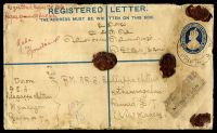 Lot 3584:Myinkagon: 'MYINKAGON/7MAR35/+PYAPON+', Proud #D3, cancelling 2a + 1a blue KGV registered envelope, H&G #C5, uprated with 3a carmine KGV & bearing Myinkagon reg label, backstamped with 'KOTHAMANGALAM/15MAR35/+' (B1), extensive mild toning & a couple of edge dents. [Rated 150 by Proud]  PO 1/8/24; closed 1942