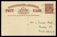 Lot 4115:1920-22 1½d Red-Brown KGV Sideface - Footnote Deleted BW #P52(1) on white, footnote removed, Victoria League in South Australia message on back to North Adelaide.