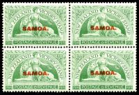 Lot 4339:1920 NZ Victory Opts SG #143 ½d green in block of 4, Cat £16, with Flawed A in overprint on BLC unit