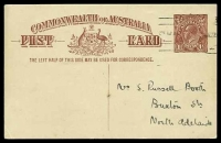 Lot 989:1920-22 1½d Red-Brown KGV Sideface - Footnote Deleted BW #P52(1) on white, footnote removed, Victoria League in South Australia message on back to North Adelaide.