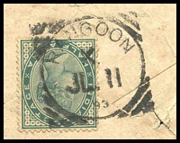 Lot 19748 [2 of 2]:Rangoon: squared-circle 'RANGOON/X/JL11/93', #KD43, cancelling ½a green QV, on cover back, with 'AJMERE/1STDELY/JL18/93' (A2), tattered edges & a strong crease.  PO 21/5/1853; closed 19/2/1942