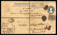 Lot 17449:Yenang Yaung: very light double-circle of JLY33, cancelling 3a + 1a3p ultramarine KGV registration envelope, H&G #6, uprated with 1a brown KGV & bearing Yenang Yaung registration label to Kothamangalam, extensive mild toning & horizontal crease. [Rated 80 by Proud]  PO 1888; closed 1942