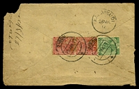 Lot 3814 [2 of 2]:Zigon: double-circle 'ZIGON/19MAR17/+', #D5, cancelling 1a carmine pair & ½a green KGV, on plain cover with Zigon reg label, backstamped with 'KARAIKUDI/26MR/17' (B2), reduced with torn BLC. [Rated 100 by Proud]  PO 1882; closed 1942