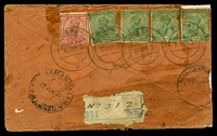 Lot 17968:Zigon: double-circle 'ZIGON/6JUN21/+', cancelling 1a carmine & ½a green x4 KGV, on plain cover with Zigon registration label, with Kothamangalam arrival of 17JUN21, reduced with several small tears. [Rated 100 by Proud]  PO 1882; closed 1942