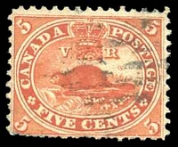 Lot 17472:1859 Decimal Currency SG #32 5c deep red beaver, Cat £15, bottom perfs rough.