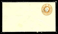 Lot 22431:1922 Reduced Rate HG #KB50E 2d orange opt with triangular 'W.C.' (to indicate refund of ½d), (Huggins & Baker #ES57), black mourning border, flap partly removed.