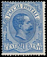 Lot 4328:1884-86 'PACCHI POSTALI' SG #P39 20c blue, Cat £110, re-gummed?.