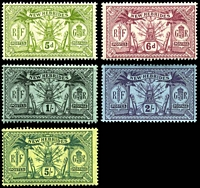 Lot 4438 [1 of 2]:1911 Wmk Multi Crown/CA SG #18-28 set of 9, Cat £75, 1/- & 5/- are **, 2½d has minor surface damage.