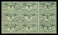 Lot 26248:1925 DLR Opts SG #FD53 10c (1d) green, block of 9, Cat £27, CTO.