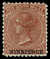 Lot 1063:1871-1902 Wmk 1st Crown/NSW SG #220b 9d on 10d red-brown, P12, Cat £13.