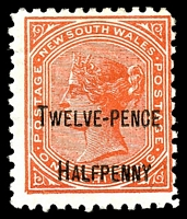 Lot 1199:1891 Surcharges SG #268b 12½d on 1/- red, P11, Cat £13.