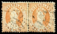 Lot 1389:1868-78 Small Chalon Wmk 1st Crown/Q Perf 12 SG #95 1d pale orange-vermilion pair, Cat £10.