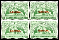 Lot 24087:1920 NZ Victory Opts SG #143 ½d green in block of 4, Cat £16, with Flawed A in overprint on BLC unit
