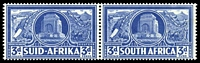 Lot 4383:1938 Voortrekker Memorial Fund SG #79 3d + 3d bright blue pair, Cat £20.
