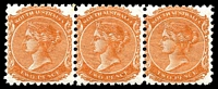 Lot 1234:1876-1904 DLR Wmk Crown/SA (Close) Perf 10: SG #168 2d orange-red strip of 3, Cat £48, 1 light tone spot, TRC leftmost unit.