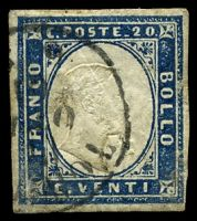 Lot 23984:1855-63 Victor Emanuell II Imperf SG #46 20c blue 4-margins, Cat £43, aged.