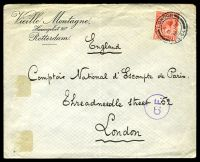 Lot 26060:1916 use of GB 1d red KGV, cancelled with double-circle 'LONDON/6JU/16/F.G.64' (A1-), on large Vieille Montagne, Rotterdam undercover cover addressed to London, bearing circle 'C.F.' (A1) Belgian censor handstamp in purple, some hinge fragments, mild vertical fold & a touch of toning on reverse.