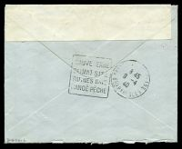 Lot 23399 [2 of 2]:1940 use of stampless envelope, cancelled with double-circle 'FIELD [POST] OFFICE/A/3AP/40/26' (B1), also bearing '[crown]/PASSED BY
