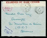 Lot 23399 [1 of 2]:1940 use of stampless envelope, cancelled with double-circle 'FIELD [POST] OFFICE/A/3AP/40/26' (B1), also bearing '[crown]/PASSED BY