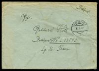 "Lot 3797:1942 use of large stampless ""Feldpost"" cover, cancelled with double-circle 'SULZBERG/■2.X.42/a' (A1), to Feldpost L.13591, Air Field Command 13/VI, letter included, some mild toning & creasing."