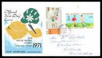 Lot 26222:1971 4th South Pacific Games SG #149-50 set of 2 on Official FDC, cancelled at Vila, 2 black ink finger prints on front
