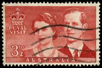 Lot 2904:1954 Royal Visit BW #308i 3½d carmine-red with Re-entry in 'ROYAL VISIT' & '3½d' [ShC 8/2], Cat $40, slightly grubby at left