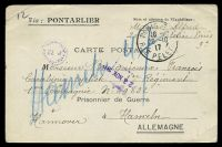 Lot 22261:1917 use of stampless postcard, cancelled with 'PARIS 5/16/20-10/17/RLE PELETIER