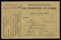 Lot 3748:1919 use of stampless POW card, cancelled with light 'BUREAU DE RENSEIGNEMENTS/*/15-1/17/*PARIS*' (A1-), to Berlin, with straight-line 'Censuré' (A1) in purple.