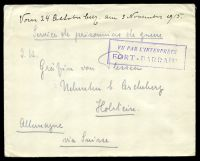 "Lot 3573:1915 use of plain cover endorsed ""Service de prisonniers de guerre"", to Holstein, with boxed 'VU PAR L'INTERPRÈTE/FORT-BARRANY"