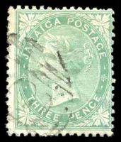 Lot 22166:1870-83 Wmk Crown/CC SG #10 3d green, couple of short perfs.