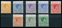 Lot 3527:1938-52 KGVI Definitives SG #149-154c ½d green, 1d grey, 1½d red-brown, 2d scarlet, 2½d ultramarine, 2½d violet, 3d blue & 10d yellow-orange, Cat £14.