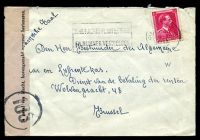 Lot 17591:1944 use of 1f carmine, cancelled with light double-circle 'ANTWEPEN/16 17/11XI/1944' (B1), on plain domestic cover to Brussels, with 'TOEZICHT/DER VERBINDINGEN/Nr..../Im geval van klacht, bovengemeld pummer herinneren.' label & circled '103' (B1) in black, opened-out with a couple of small tears.