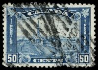 Lot 3317:1930-31 Pictorials Perf 11 SG #302 50c blue, Cat £17, creased TLC.
