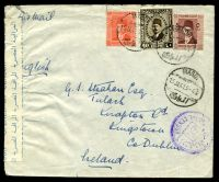 Lot 18831 [1 of 2]:1941 use of 40m dark brown, 5m red-brown & 2m orange, cancelled with bilingual 'MAADI/15JA41.3-4P/M/' (C1) on plain cover to Kingstown, Ireland with bilingual 'EGYPTIAN CENSORSHIP/OPENED BY CENSOR' label in blue on white, with bilingual double-circle '/56/POSTAL CENSOR' (C1) in purple & backstamped with straight-line 'P1469' (A1) in purple, couple of small closed tears.