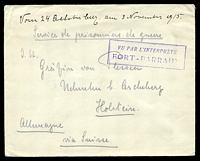 "Lot 21324:1915 use of plain cover endorsed ""Service de prisonniers de guerre"", to Holstein, with boxed 'VU PAR L'INTERPRÈTE/FORT-BARRANY"