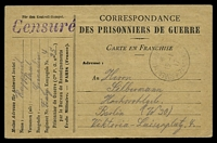 Lot 18869:1919 use of stampless POW card, cancelled with light 'BUREAU DE RENSEIGNEMENTS/*/15-1/17/*PARIS*' (A1-), to Berlin, with straight-line 'Censuré' (A1) in purple.
