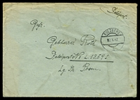 "Lot 21745:1942 use of large stampless ""Feldpost"" cover, cancelled with double-circle 'SULZBERG/■2.X.42/a' (A1), to Feldpost L.13591, Air Field Command 13/VI, letter included, some mild toning & creasing."