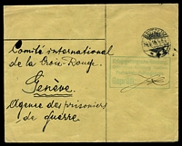 Lot 21739:1915 use of 'Gefangenen-Abteilung/Barbara-Kaserne, Bautzen' cover, cancelled with poor Bautzen of 26.6.15, to Red Cross in Geneva, with boxed 'Kriedsgefangenen-Sendung./Gefangenen-Abteilung Bautzen./Postverkehr-Prüfungsstelle./Geprüft:' (A1) in green & very light circular 'F.a.' in green, some mild creasing.